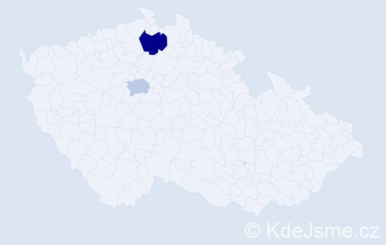 Příjmení: 'Bačkaiová', počet výskytů 2 v celé ČR