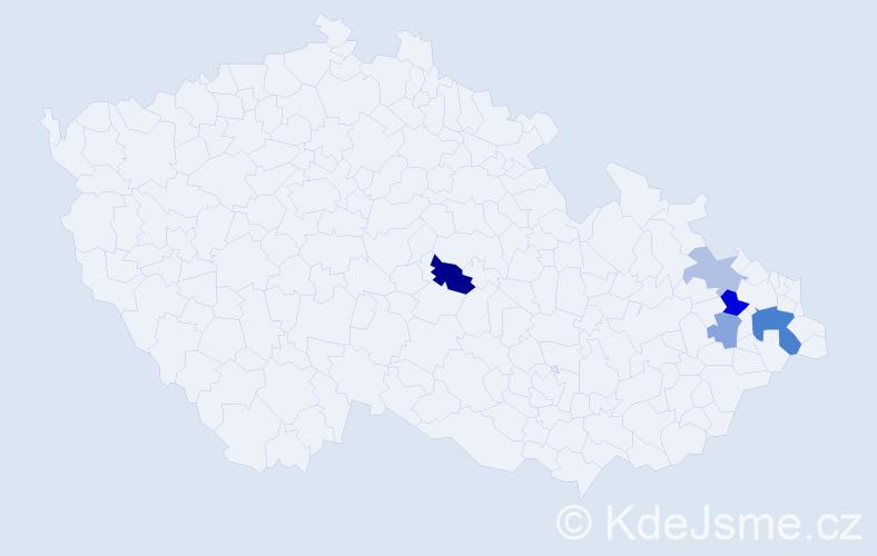 Příjmení: 'Borovicová', počet výskytů 10 v celé ČR