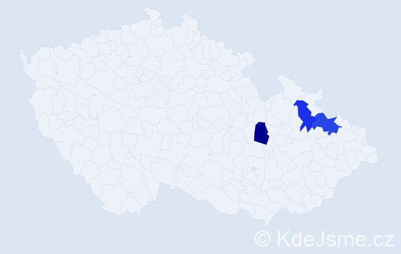 Příjmení: 'Bilonohová', počet výskytů 4 v celé ČR