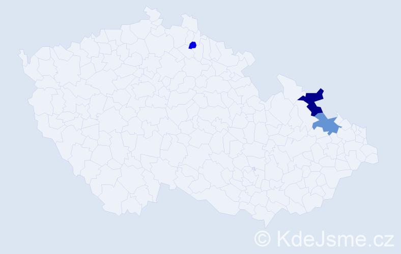 Příjmení: 'Čechanová', počet výskytů 8 v celé ČR