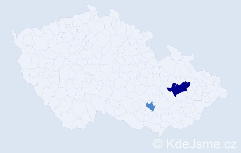 Příjmení: 'Kaderagová', počet výskytů 4 v celé ČR