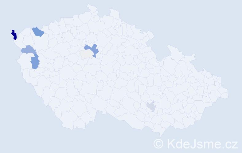 Příjmení: 'Hanišáková', počet výskytů 16 v celé ČR