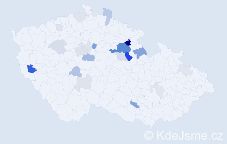 Příjmení: 'Knejp', počet výskytů 64 v celé ČR