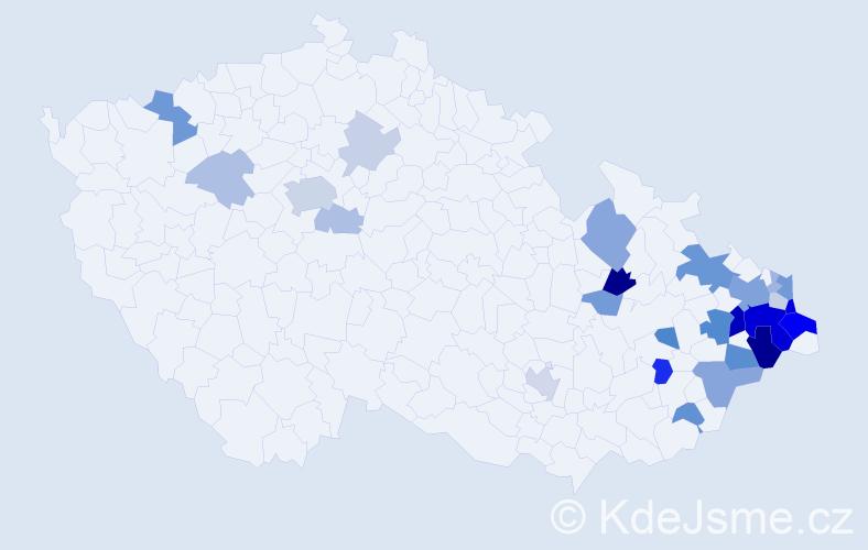 Příjmení: 'Dulavová', počet výskytů 74 v celé ČR