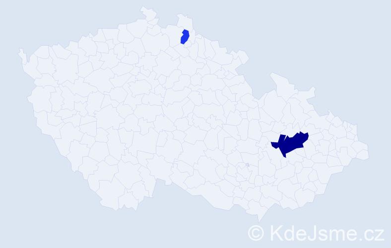 Příjmení: 'Castellani', počet výskytů 4 v celé ČR
