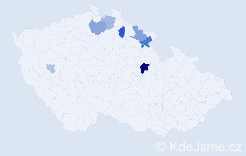 Příjmení: 'Karmínová', počet výskytů 9 v celé ČR