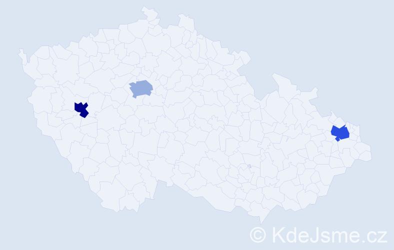 Příjmení: 'Lung', počet výskytů 3 v celé ČR