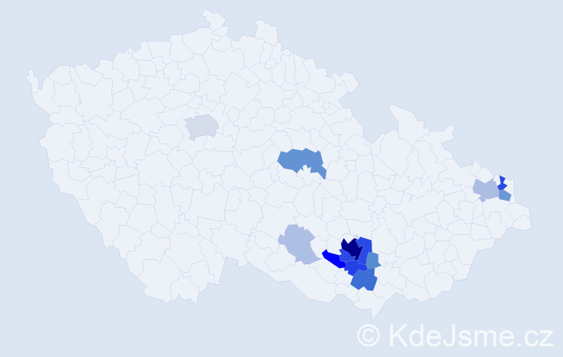 Příjmení: 'Glozarová', počet výskytů 52 v celé ČR
