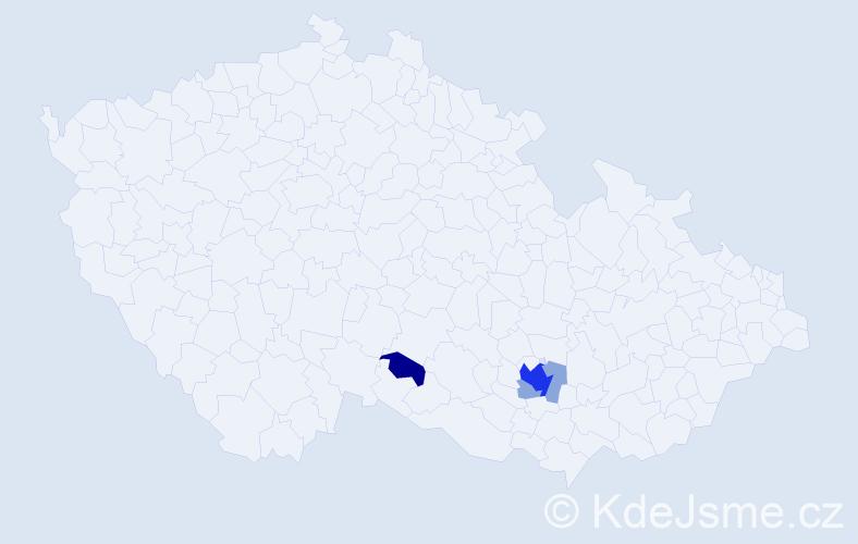 Příjmení: 'Jaspar', počet výskytů 14 v celé ČR