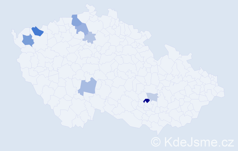 Příjmení: 'Burč', počet výskytů 21 v celé ČR