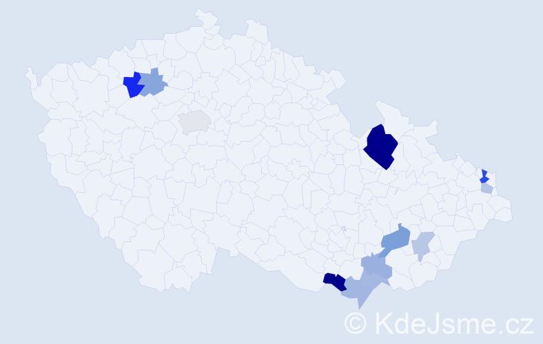 Příjmení: 'Haramia', počet výskytů 24 v celé ČR