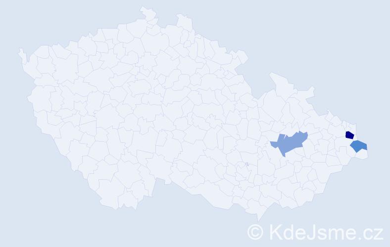 Příjmení: 'Ćwiertka', počet výskytů 5 v celé ČR