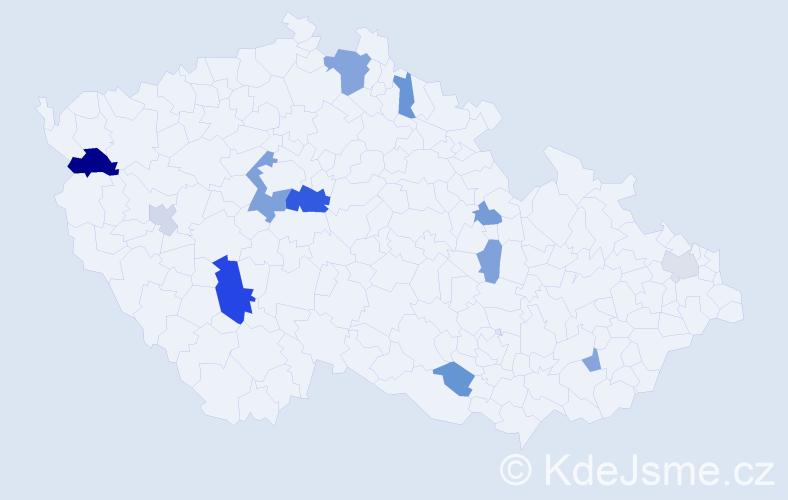 Příjmení: 'Gardner', počet výskytů 24 v celé ČR
