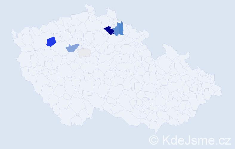 Příjmení: 'Islová', počet výskytů 9 v celé ČR