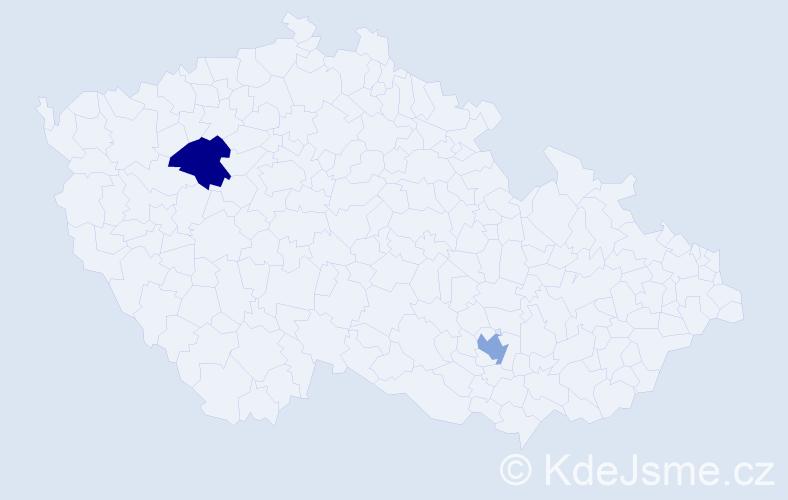 Příjmení: 'Efenberg', počet výskytů 2 v celé ČR