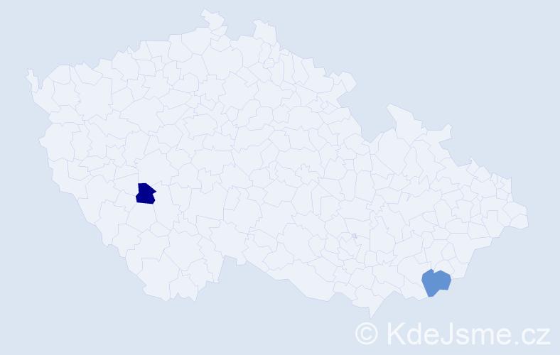Příjmení: 'Horvayová', počet výskytů 5 v celé ČR