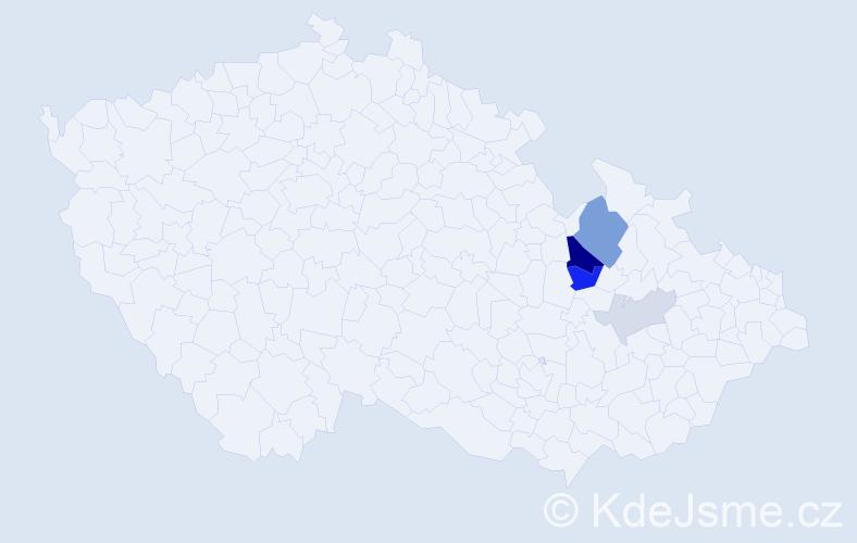 Příjmení: 'Fričarová', počet výskytů 11 v celé ČR
