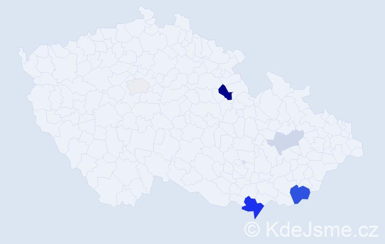 Příjmení: 'Kazinotová', počet výskytů 14 v celé ČR