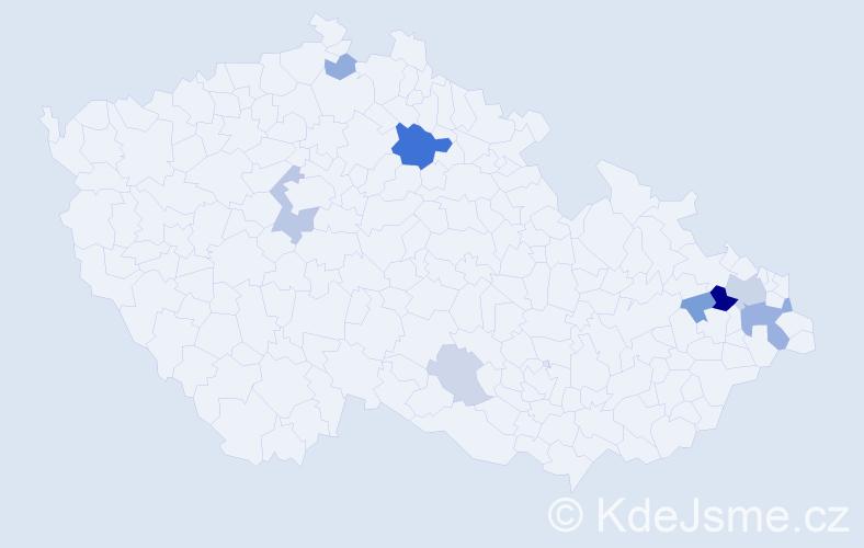 Příjmení: 'Danys', počet výskytů 22 v celé ČR