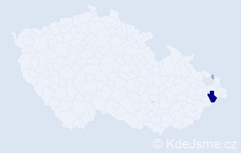 Příjmení: 'Kabut', počet výskytů 6 v celé ČR