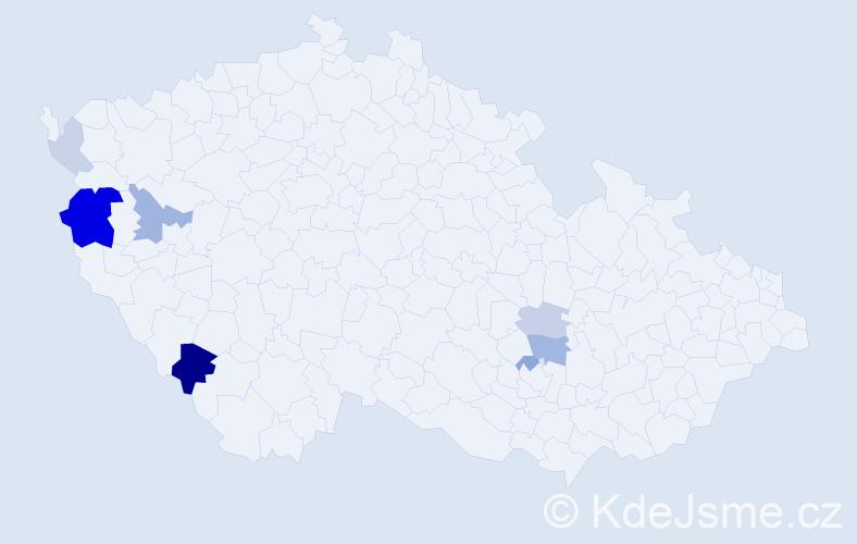 Příjmení: 'Holc', počet výskytů 18 v celé ČR