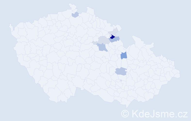 Příjmení: 'Klamta', počet výskytů 18 v celé ČR