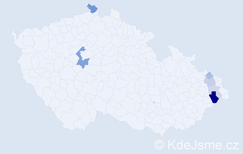 Příjmení: 'Izvorská', počet výskytů 15 v celé ČR
