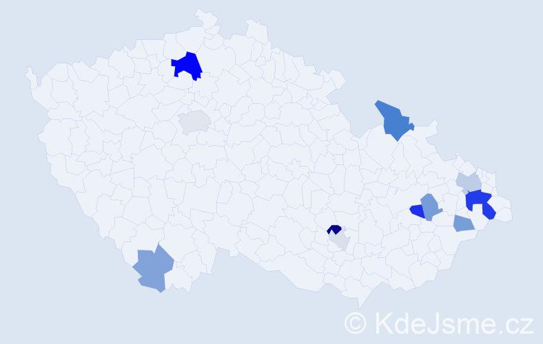 Příjmení: 'Gladišová', počet výskytů 46 v celé ČR