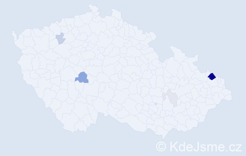 Příjmení: 'Cigan', počet výskytů 21 v celé ČR