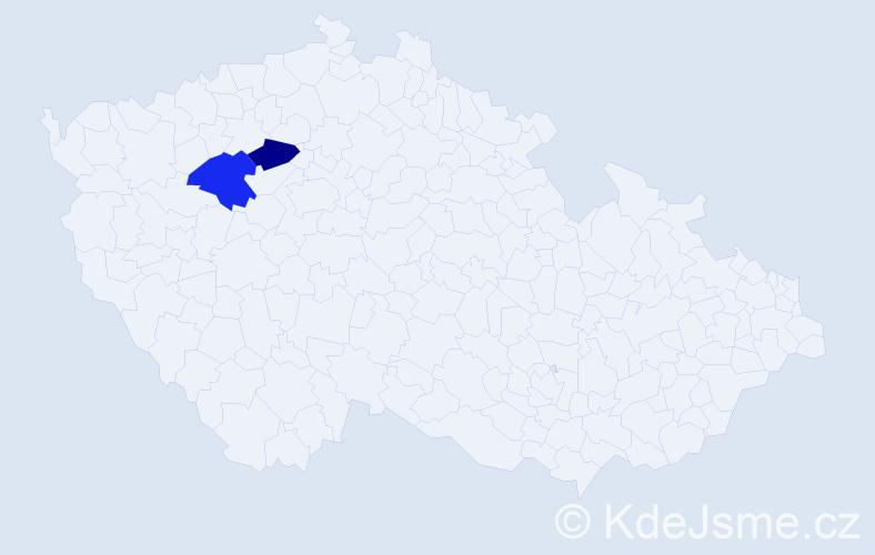 Příjmení: 'Eržiaková', počet výskytů 2 v celé ČR