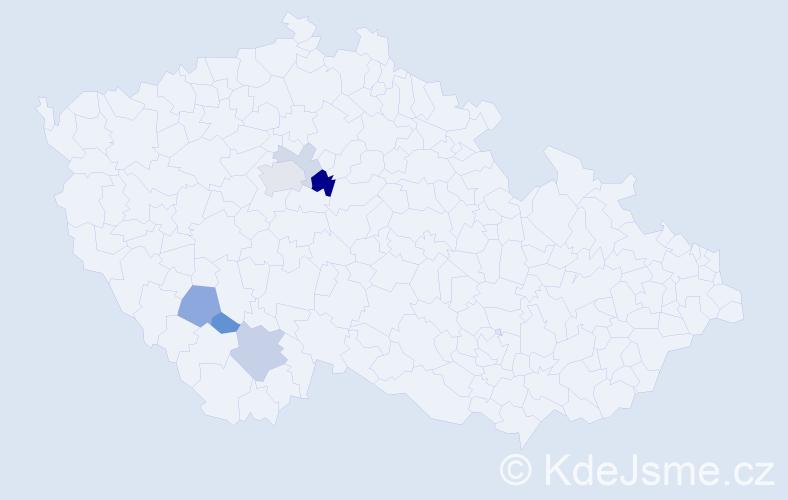 Příjmení: 'Čistotová', počet výskytů 14 v celé ČR
