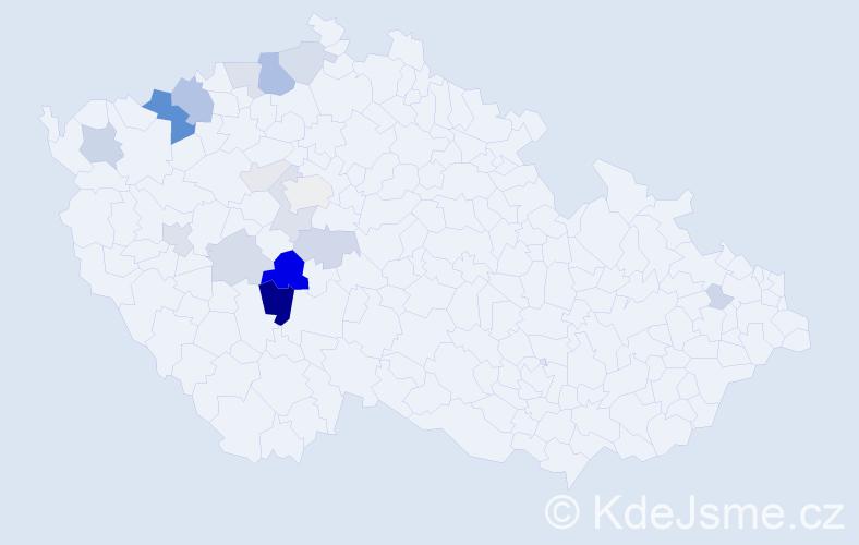 Příjmení: 'Kdolský', počet výskytů 63 v celé ČR