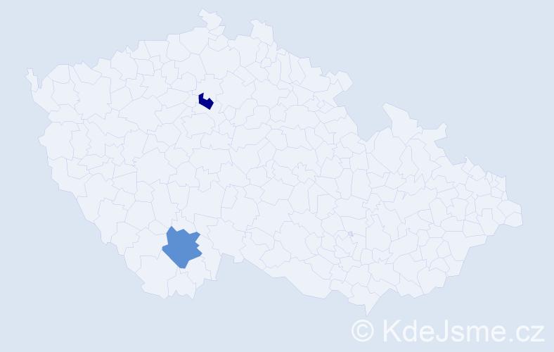 Příjmení: 'Čouza', počet výskytů 5 v celé ČR