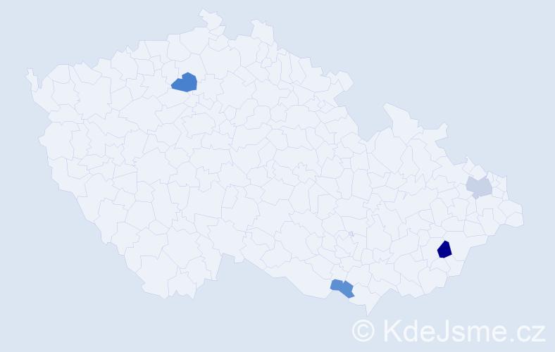 Příjmení: 'Ekhart', počet výskytů 7 v celé ČR