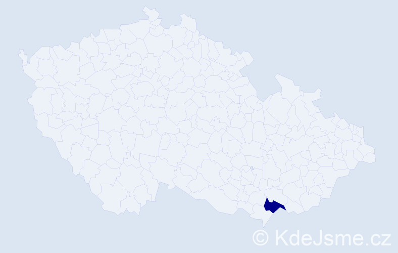 """Příjmení: '""""El Berkawi""""', počet výskytů 4 v celé ČR"""