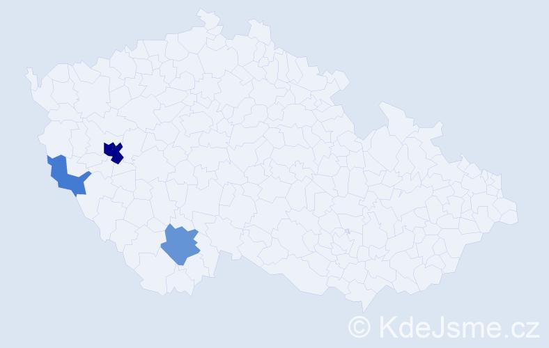 Příjmení: 'Cudlmanová', počet výskytů 9 v celé ČR