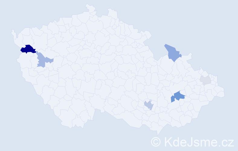 Příjmení: 'Maďaričová', počet výskytů 12 v celé ČR