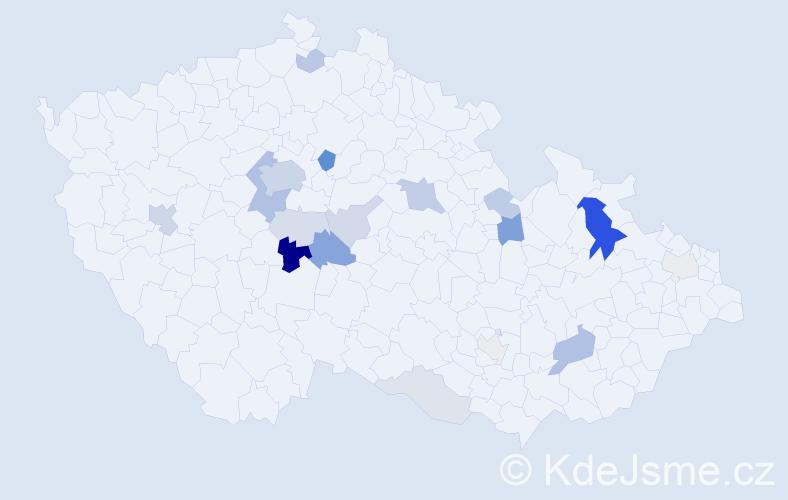 Příjmení: 'Kodeda', počet výskytů 56 v celé ČR