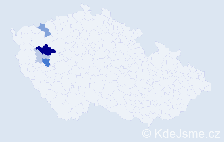 Příjmení: 'Jedlíková', počet výskytů 19 v celé ČR
