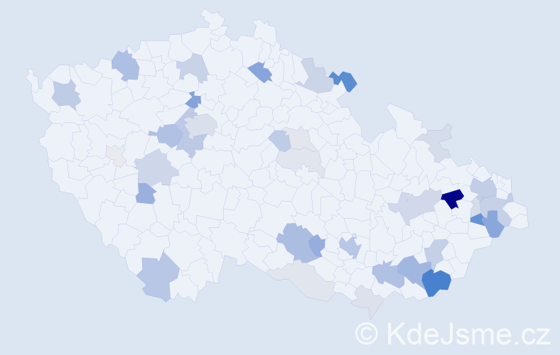 Příjmení: 'Korček', počet výskytů 118 v celé ČR