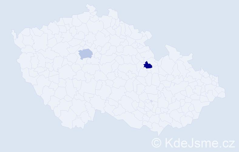 Příjmení: 'Donovan', počet výskytů 4 v celé ČR