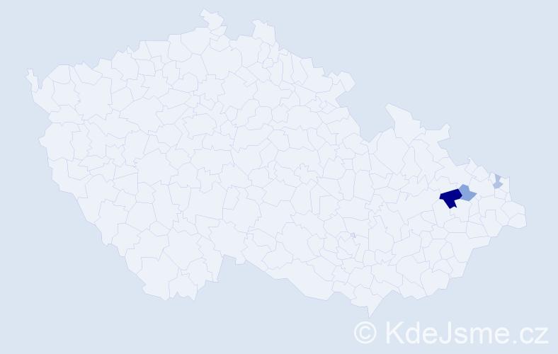 Příjmení: 'Gramesová', počet výskytů 5 v celé ČR