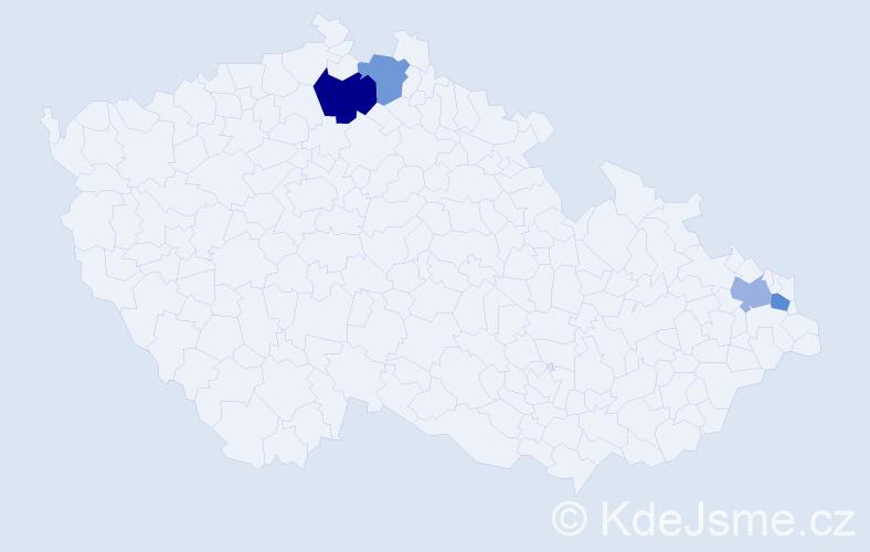 Příjmení: 'Anderovský', počet výskytů 5 v celé ČR