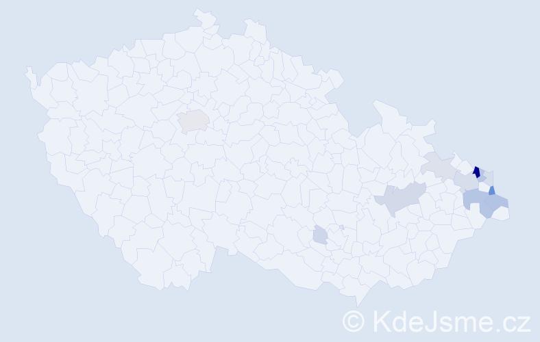 Příjmení: 'Kika', počet výskytů 60 v celé ČR