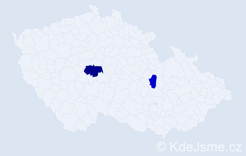 Příjmení: 'Kačenga', počet výskytů 3 v celé ČR