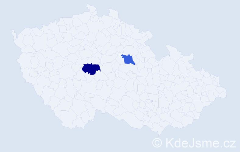 Příjmení: 'Baššárová', počet výskytů 2 v celé ČR