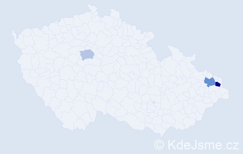 Příjmení: 'Jajková', počet výskytů 6 v celé ČR