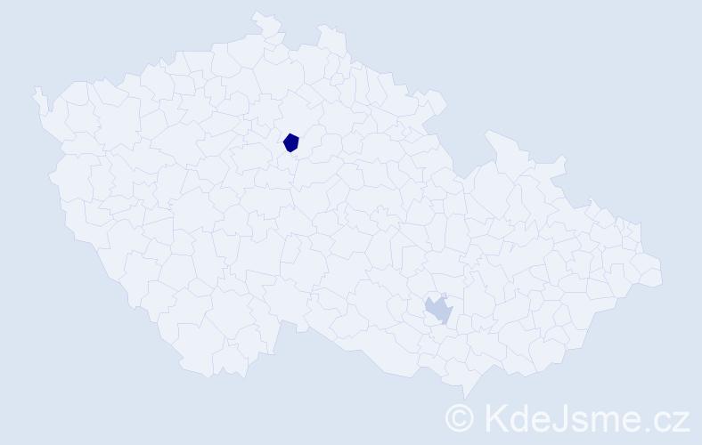 Příjmení: 'Kicserová', počet výskytů 2 v celé ČR