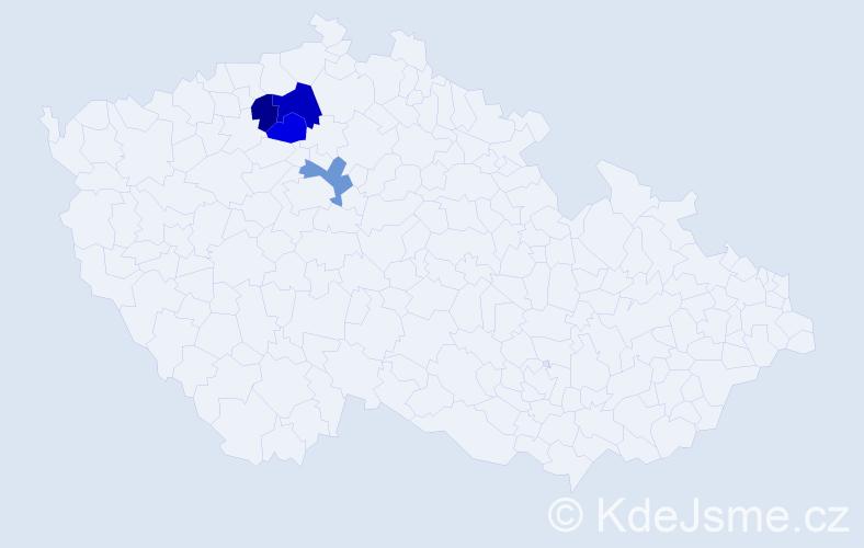 Příjmení: 'Jaršová', počet výskytů 5 v celé ČR