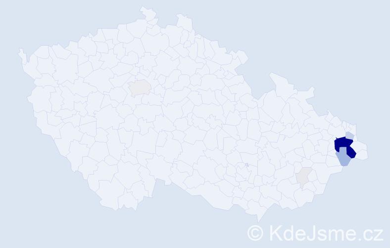 Příjmení: 'Gongol', počet výskytů 59 v celé ČR